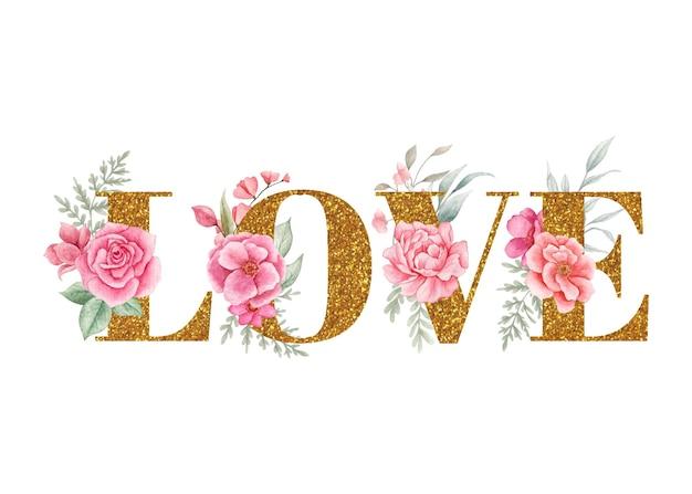 Linda decoração floral de amor para cartão de dia dos namorados