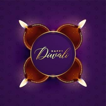 Linda diwali festival design de cartão de celebração