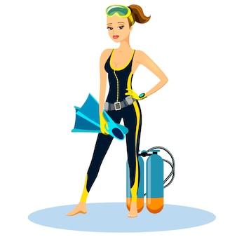 Linda e jovem mergulhadora atlética vestindo uma roupa de mergulho com nadadeiras e um aqualung