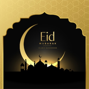 Linda eid mubarak fundo de cena dourada