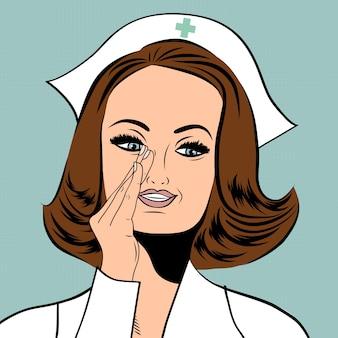 Linda enfermeira amigável e confiante