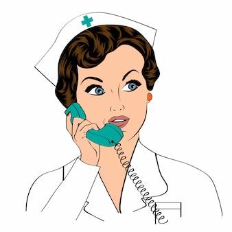 Linda enfermeira simpática e confiante no telefone