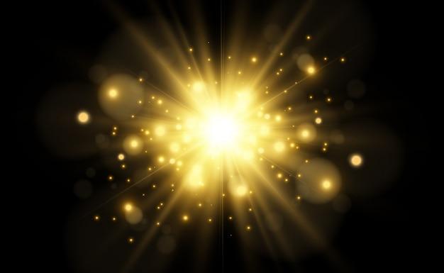 Linda estrela brilhante. ilustração de um efeito de luz em um fundo transparente.