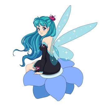 Linda fada do anime com asas azuis brilhantes, cabelo ciano sentado na flor e vestido preto.