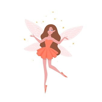 Linda fada em lindo vestido e com asas de borboleta isoladas no fundo branco. criatura mágica de contos de fadas, lendas, mitos, folclore, personagem mágico. ilustração em vetor plana dos desenhos animados.