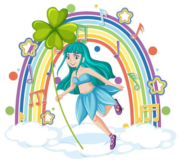 Linda fada em uma nuvem com arco-íris