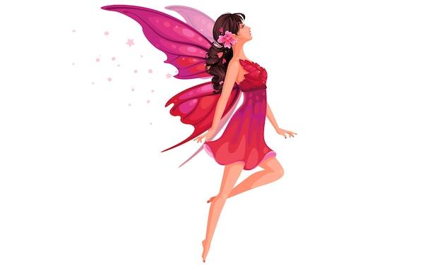Linda fada voadora em ilustração de vestido rosa