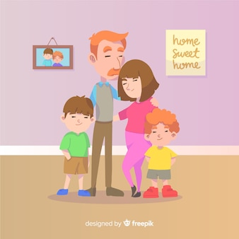 Linda família em casa com design plano