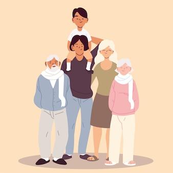 Linda família, pais, avós e ilustração de menino