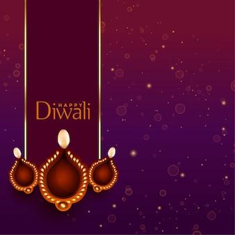 Linda feliz diwali diya decoração de fundo