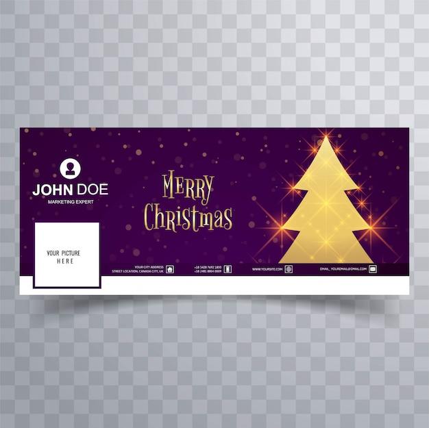 Linda feliz natal árvore facebook banner modelo