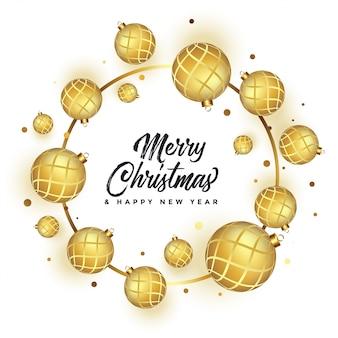 Linda feliz natal branco saudação com bolas de ouro