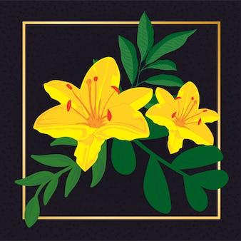 Linda flor amarela folha vintage natureza