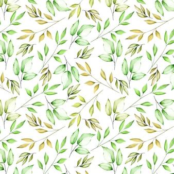 Linda flor aquarela e folhas padrão sem emenda