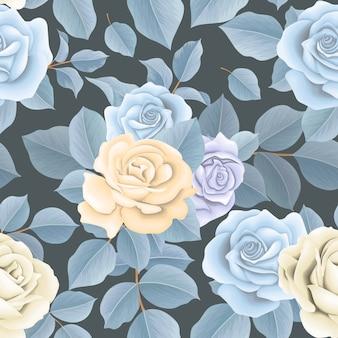 Linda flor azul sem costura padrão e folhas marrons