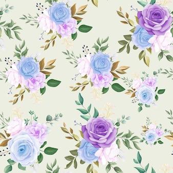 Linda flor azul sem costura padrão e folhas verdes