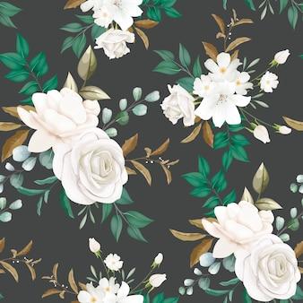 Linda flor branca sem costura padrão