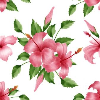 Linda flor de hibicus floral padrão aquarela