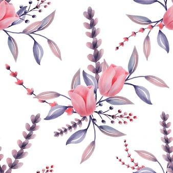 Linda flor de modelo floral padrão aquarela