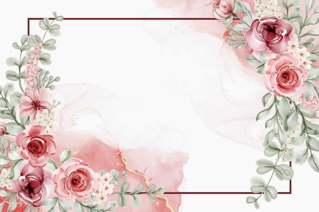 Linda flor desabrochando com folhas rosa