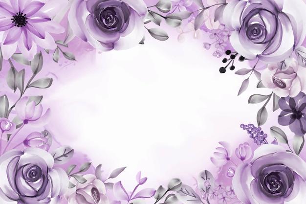 Linda flor e folhas com fundo roxo