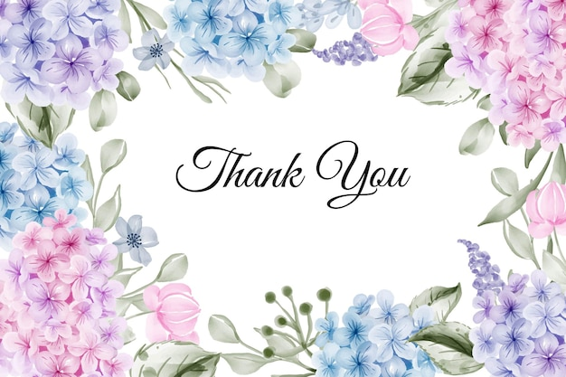 Linda flor em aquarela de hortênsia com fundo rosa azul