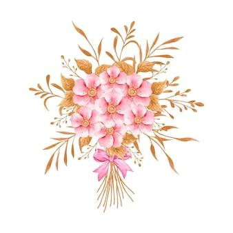 Linda flor rosa aquarela pintada à mão e buquê de folhas douradas