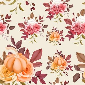 Linda flor sem costura padrão e folhas outono outono