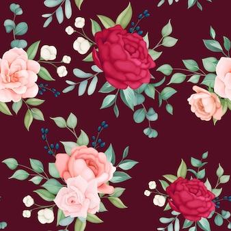 Linda floração floral e folhas padrão sem emenda