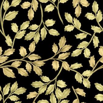 Linda folha floral padrões aquarela folhas de ouro
