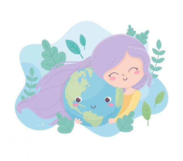 Linda garota abraça mundo dos desenhos animados folhagem ambiente ecologia