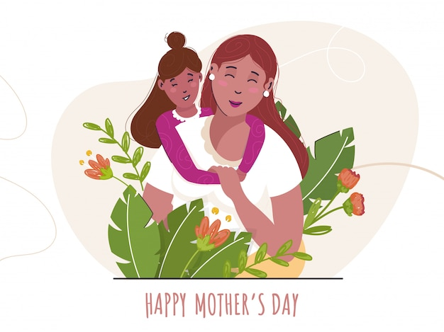 Linda garota abraçando a mãe de volta, folhas verdes decorado fundo. conceito para feliz dia das mães.