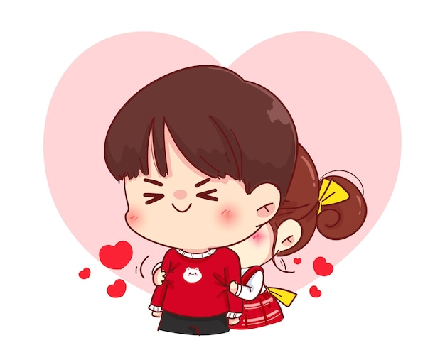 Linda garota abraçando o namorado por trás, feliz dia dos namorados, ilustração de personagem de desenho animado