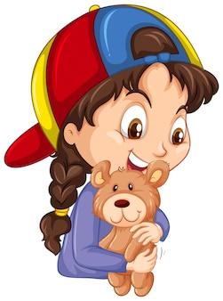 Linda garota abraçando o ursinho de pelúcia no fundo branco