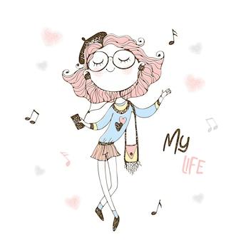 Linda garota adolescente de boina e óculos, ouvindo música com fones de ouvido.