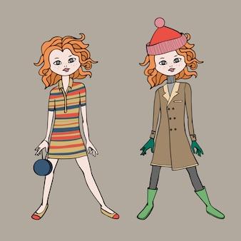 Linda garota adolescente em dois equipamentos de moda. modelo de corpo
