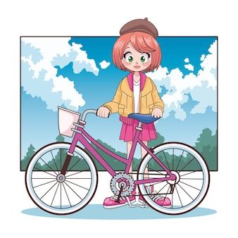Linda garota adolescente em personagem de anime de bicicleta na ilustração da paisagem