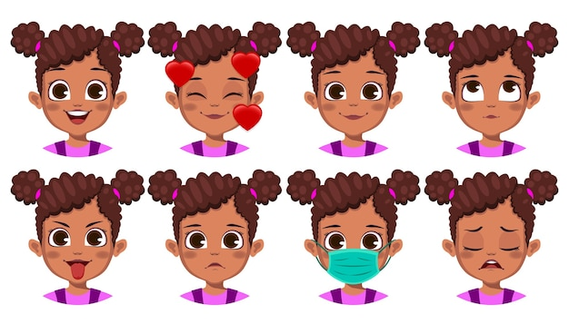 Linda garota africana com conjunto de expressões faciais diferentes