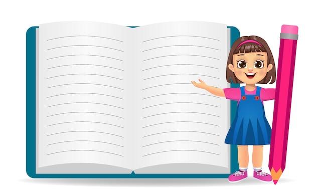 Linda garota africana mostrando um grande livro vazio