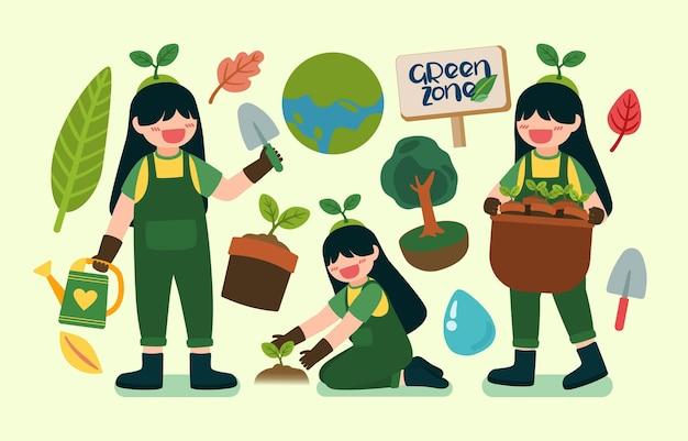 Linda garota ajuda a plantar árvores no feliz dia da terra no personagem de desenho animado