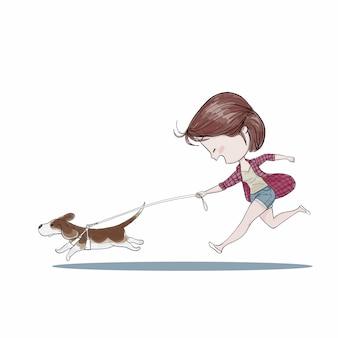 Linda garota andando com o cachorro.