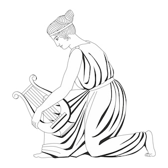 Linda garota antiga com um jarro ilustração em vetor heráldica desenhada à mão isolada no branco