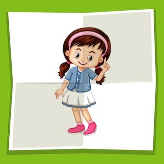 Linda garota apontando o dedo para cima