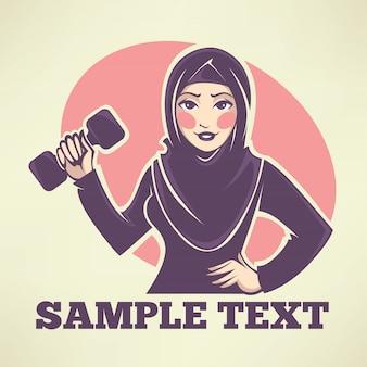 Linda garota árabe fazendo fitness, ilustração vetorial