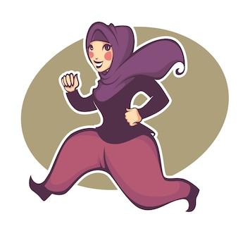 Linda garota arabiana fazendo fitness, ilustração vetorial