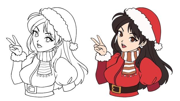 Linda garota asiática de anime usando fantasia de papai noel e imagem de contorno de chapéu para livro de colorir