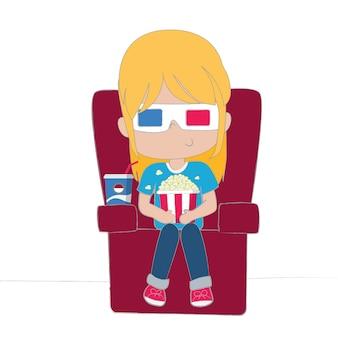 Linda garota assistindo filme usando óculos 3d