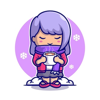 Linda garota bebe café quente na ilustração do ícone dos desenhos animados de neve.