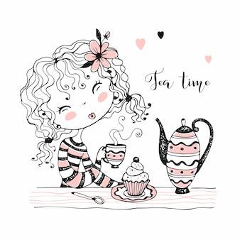 Linda garota bebendo chá. festa do chá. estilo doodle.