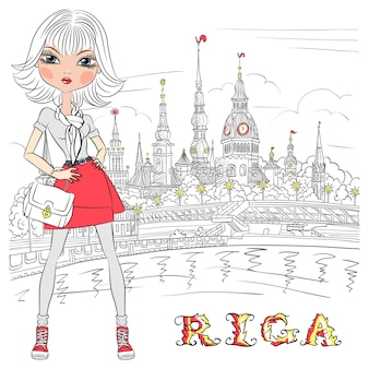 Linda garota bonita da moda na cidade velha, riga, letônia